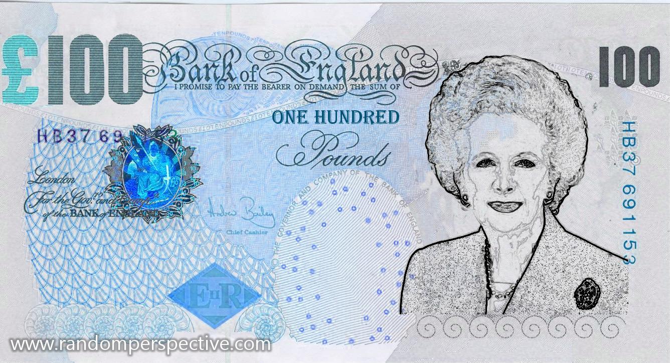 random perspective margaret thatcher banknote
