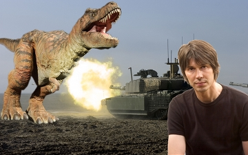 Professor Brian Cox fights a T-Rex and a Tank