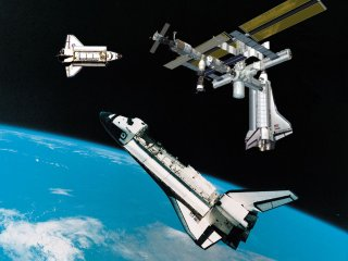 3 Space Shuttles In SPace
